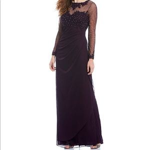 Xscape Beaded Applique Neck Long Sleeve Sheer Gown